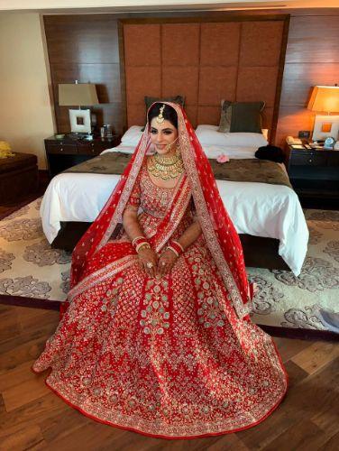 red bridal lehenga | indian bridal jewellery | Anita Dongre Wedding Lehenga