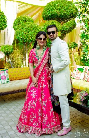 beautiful couple in their sangeet ceremony