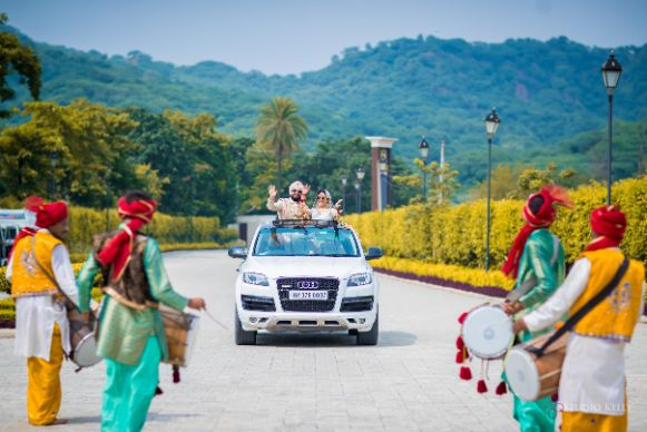 groom entry ideas | indian wedding functions | Pastel Wedding with a Stunning Reception Look