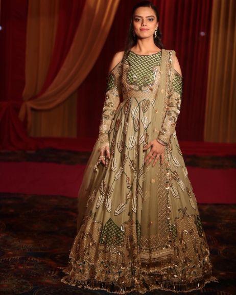 golden anarkali suit for the bride
