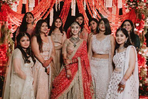 bridal photo with bridesmaids | Destination Wedding in Udaipur