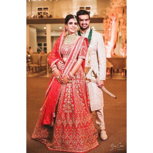 indian couple photo shoot ideas | Anita Dongre Wedding Lehenga