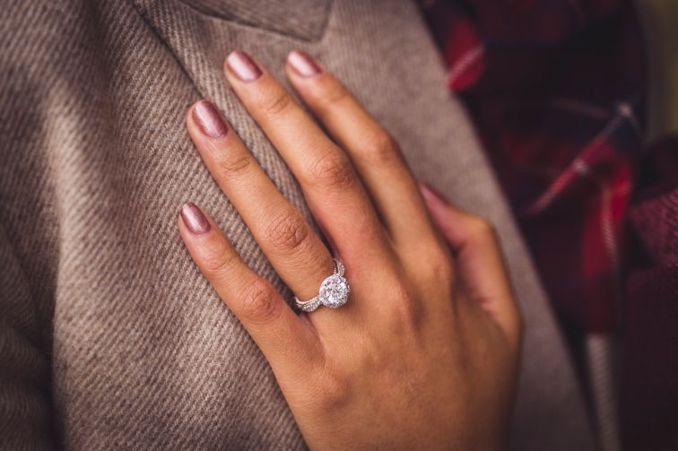 diamond ring   happily engaged   Cutest Surprise Proposal Ideas