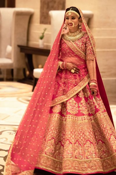 indian bride in sabyasachi lehenga for her wedding day