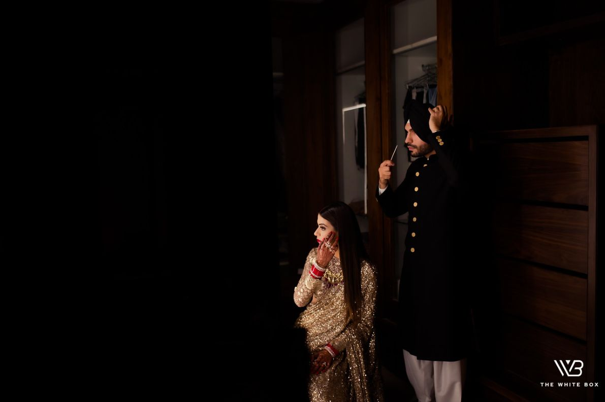 indiana bride and groom getting reday photoshoot | Sabyasachi Saree in Gold Sequins