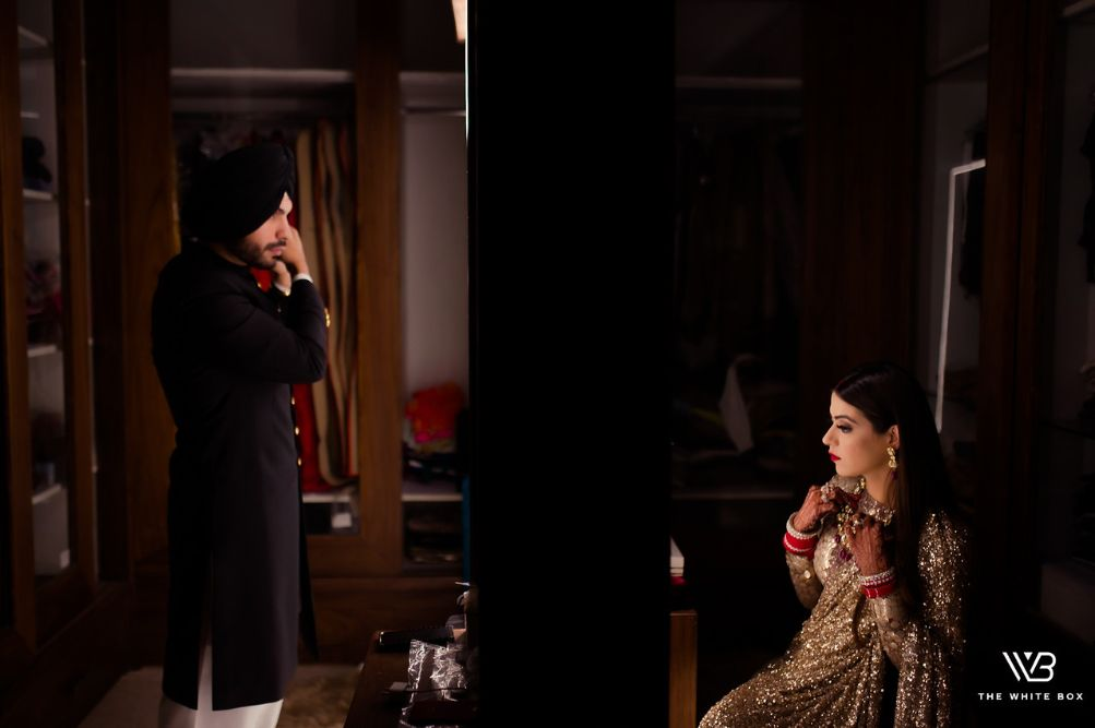 indian bride getting ready | Sabyasachi Saree in Gold Sequins