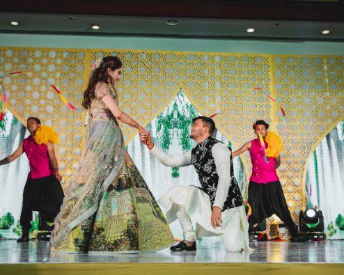 sangeet ceremony | sangeet dance | Printed Lehenga  & a Gorgeous Off Shoulder Blouse - Megnha & Devansh