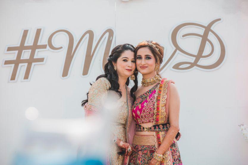 indian wedding photos | Printed Lehenga  & a Gorgeous Off Shoulder Blouse - Megnha & Devansh