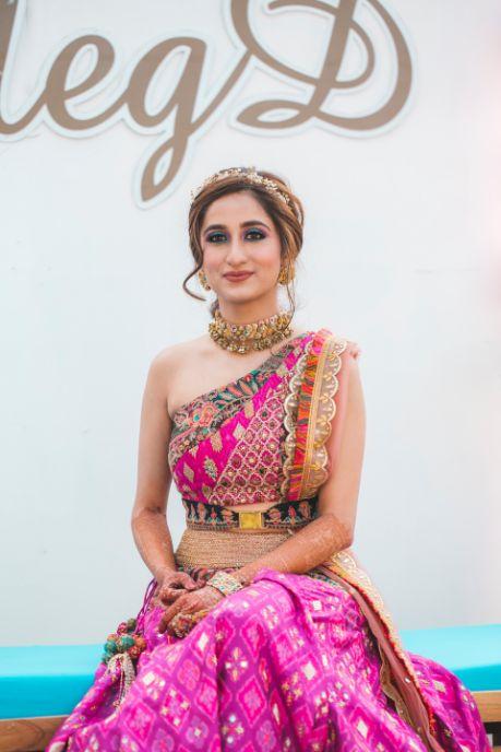 one shoulder blouse design   indian bridal fashion   Printed Lehenga  & a Gorgeous Off Shoulder Blouse - Megnha & Devansh