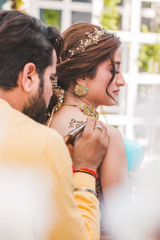 henna tattoo on shoulder   mehendi ceremony   Printed Lehenga  & a Gorgeous Off Shoulder Blouse - Megnha & Devansh