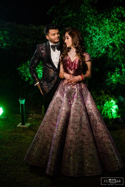 stunning reception outfit for the bride and groom