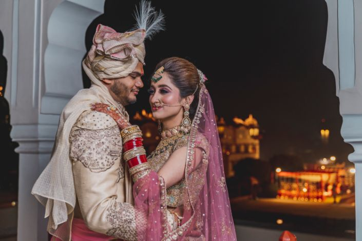 indian bride and groom at their wedding in Jaipur
