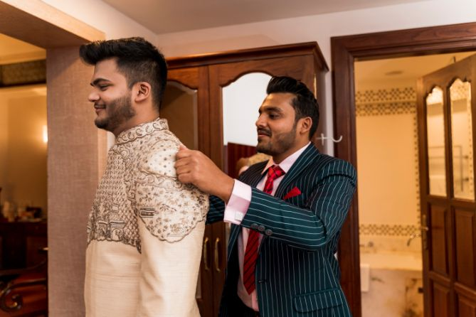 indian groom getting ready photos