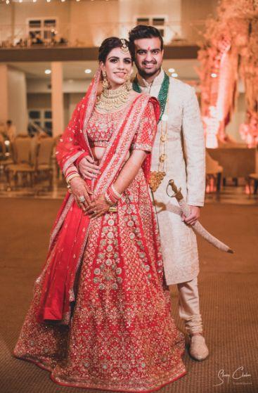 bridal lehenga | couple photo shoot | Anita Dongre Wedding Lehenga