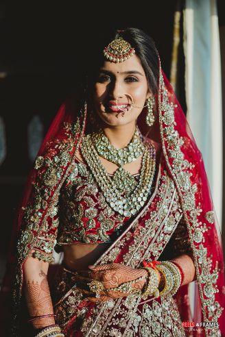 smiling indian bride   bridal blouse design idaes