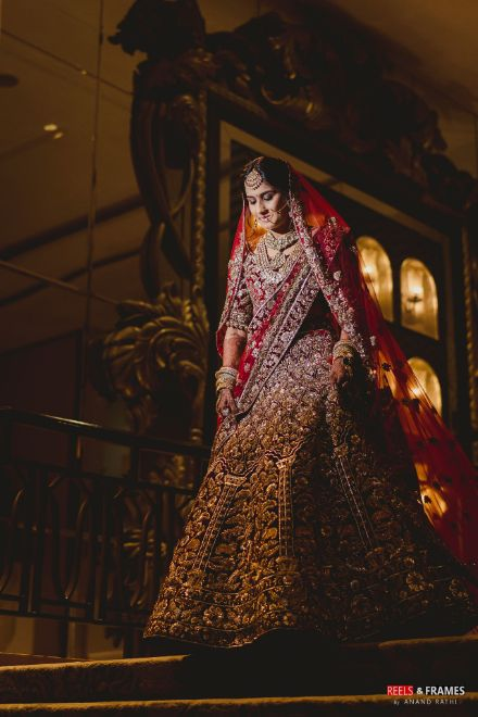 bridal red lehenga | heavily embroidered