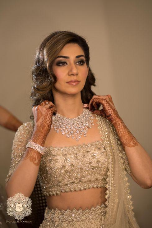 indian bridal diamond neck piece | Mirror Work Lehenga for Mehendi