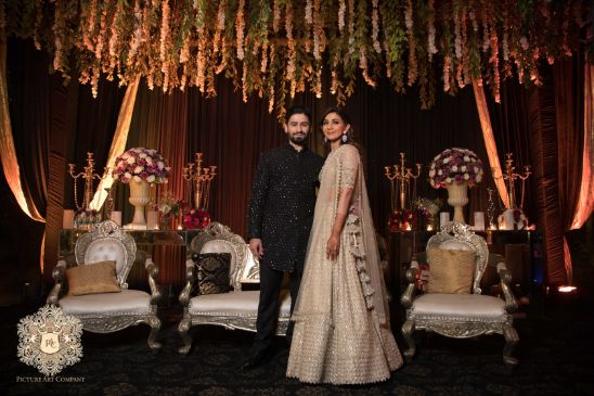 enegagemnt bride and groom photos | Mirror Work Lehenga for Mehendi