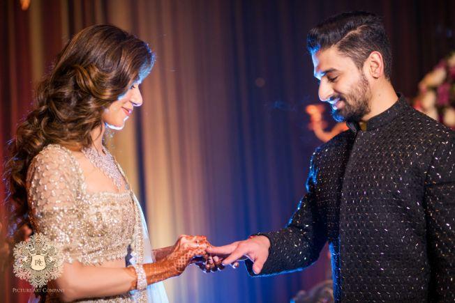 photos from ring ceremony | Mirror Work Lehenga for Mehendi