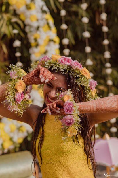 floarl jewellery | haldi ceremony | Haldi Ceremony with A Pool Party Theme
