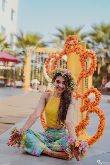 bridal photp shoot ideas | haldi day | Haldi Ceremony with A Pool Party Theme