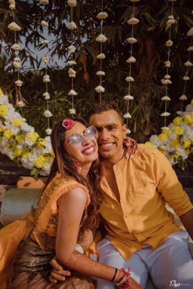 couple photography | haldi day | Haldi Ceremony with A Pool Party Theme