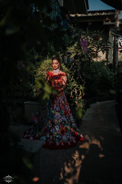 bridal photo poses | Stunning Colourful Wedding Lehenga