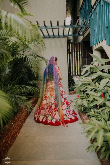 rainbow colored dupatta for the bride | Stunning Colourful Wedding Lehenga - Beautiful Goa Wedding