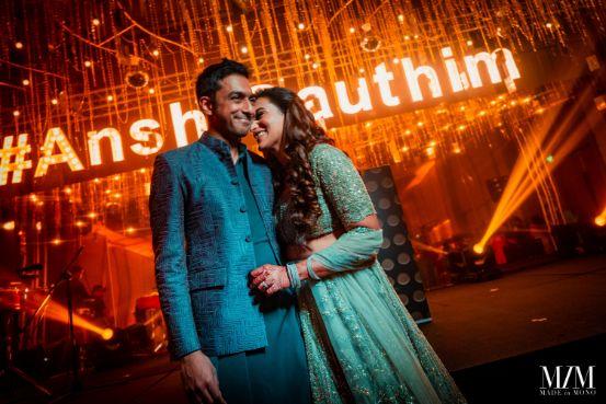 couple coordinating in hues of blue | Beach Wedding in Sri Lanka