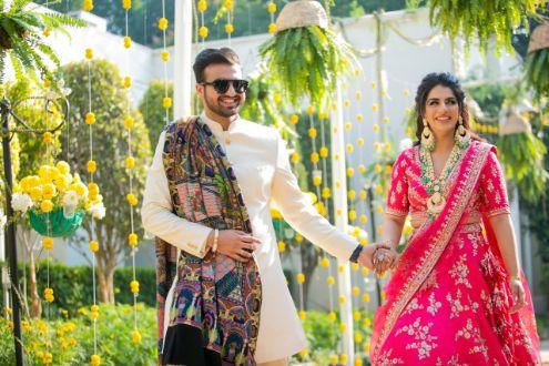 couple entry on sangeet ceremony