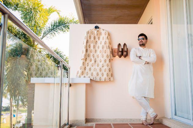 indian grooms sherwani | groom outfit goals | Beach Wedding in Hua Hin