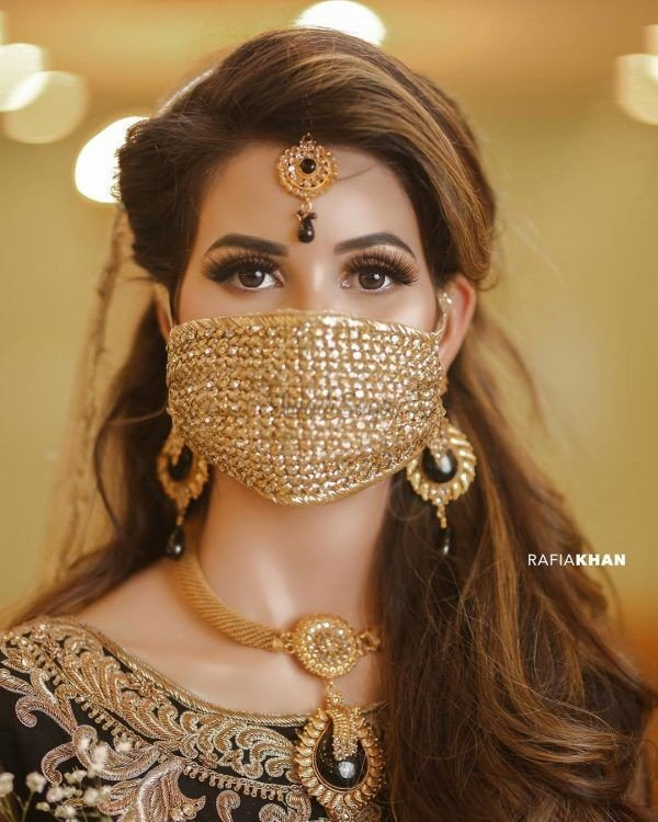 Designer masks for indian brides at indian wedding golden face masks corona wedding | Indian brides