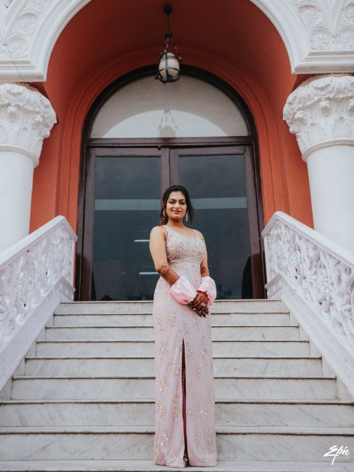 indian bride | pink gown | pool party