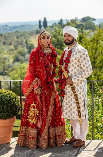 indian couple photoshoot | indian bridal portrait | red chooda bridal wear accessories | Destination wedding in Italy & Red Sabyasachi lehenga sikh wedding nri indian weddings #wittyvows #indianbride