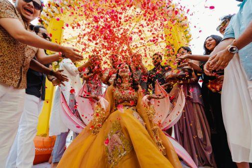 rose floer shower for the bride in haldi day