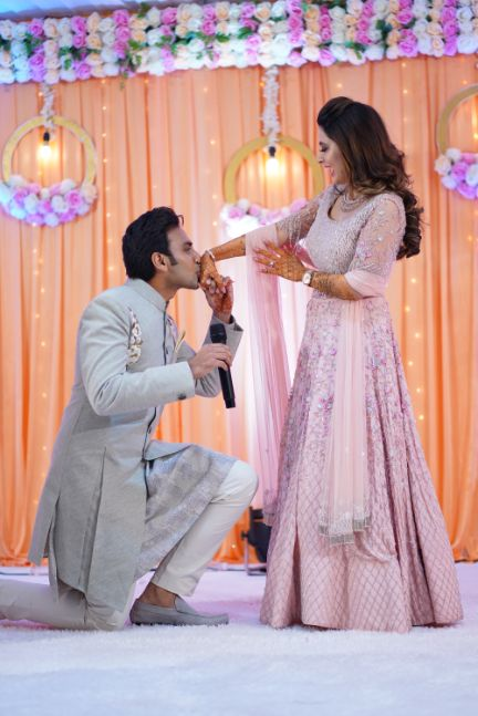 stunning baby pink lehenga for the bride | sangeet function