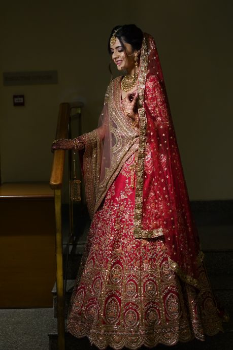 stunning red lwhwnga for the bride | indian wedding diaries | Prettiest Mumbai Wedding