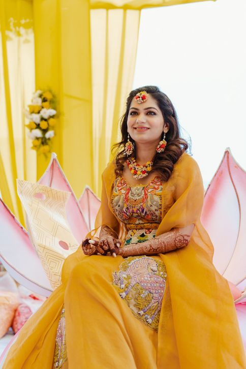 haldi ceremony outfit for the bride