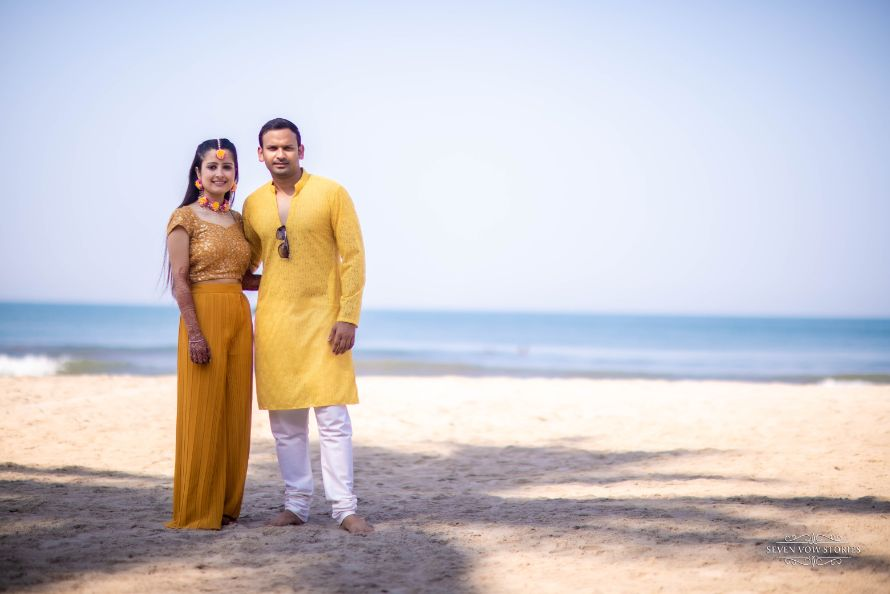 matching yellow outfits for the couple on haldi day | Cutest Haldi Ceremony