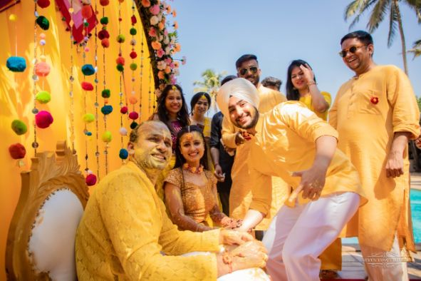 fun filled haldi day with all in matching yellow outfits | Cutest Haldi Ceremony