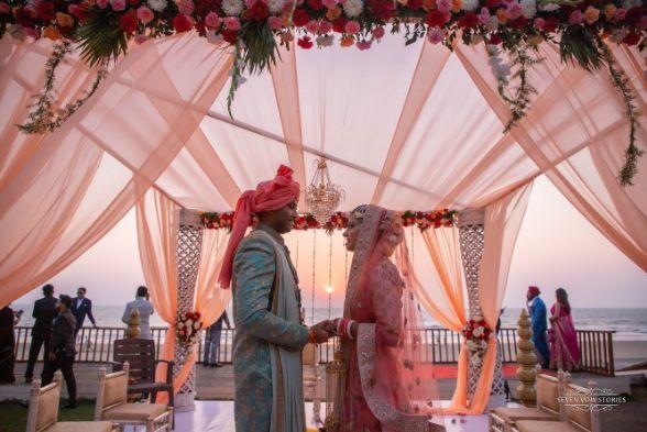 indian couple | beautiful mandap | varmala ceremony