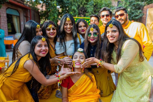 indian bridesmaid photoshoot | Destination wedding in jodhpur | indian wedding | colourful lehenga | halid shot | haldi shower | indian bride | wittyvows | #haldi #weddings #indianwedding #yellow #lehenga #bff #indianbridesmaids