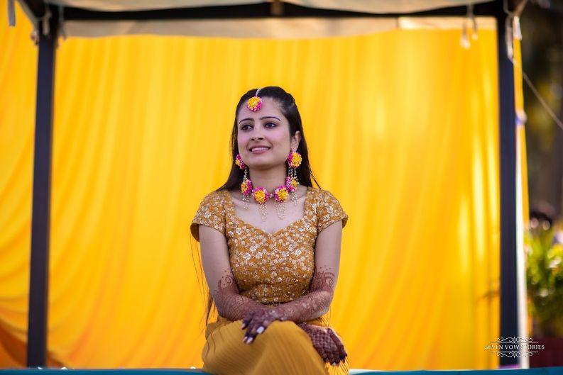 stunning haldi ceremony outfit  for the bride   Cutest Haldi Ceremony