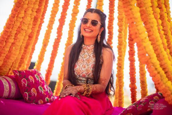indian brides mehendi day outfit   Cutest Haldi Ceremony