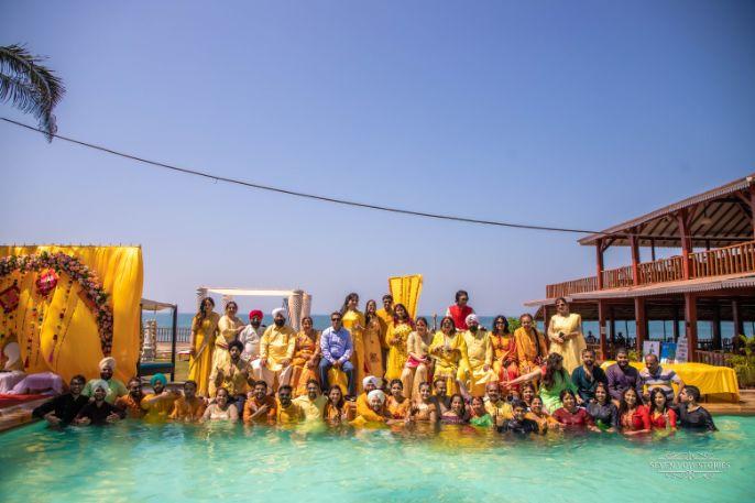 haldi day pool party | Cutest Haldi Ceremony