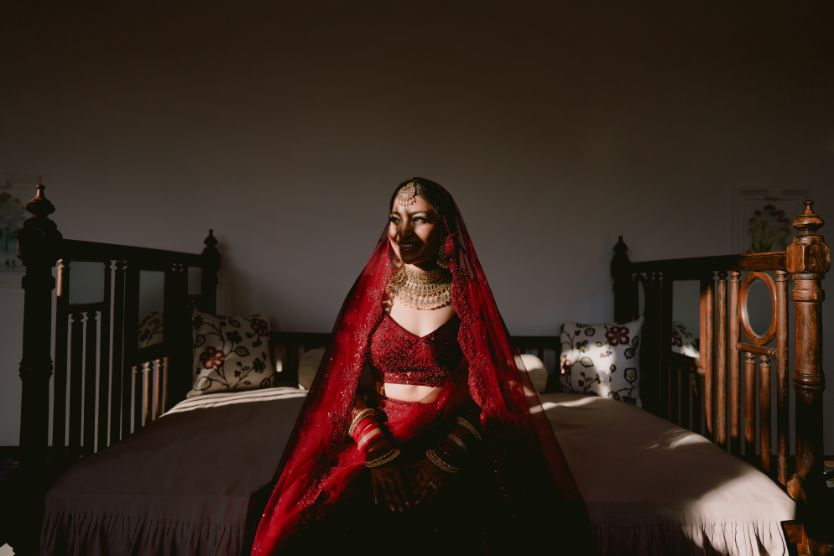 brides photoshoot idea | red lehenga | wittyvows