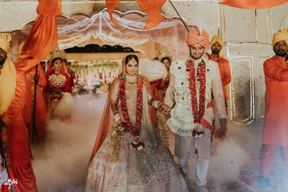 indian couple | beautiful varmala | Wedding at Ramoji Film City