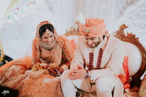 indian bride and groom at their wedding | Wedding at Ramoji Film City