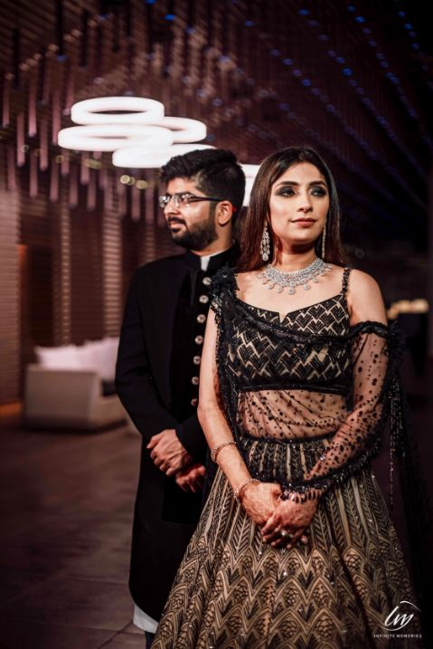indian couple photoshoot | black lehenga |  wittyvows wedding outfits