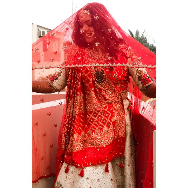 bridal portrait   indian wedding   wittyvows   indian bridal outfit   Rajasthani wedding   DIY lehenga design   Bridal hairdo   footear   boss bride customised   wittyvows real wedding  